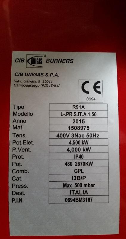 BRUCIATORE NUOVO GPL 480-2670 KW - ANNO 2015 Tipo R91A